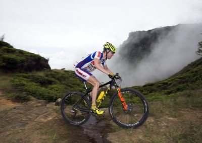 Mountain biking in the clouds at nearly 2000m elevation in Sri Lanka