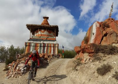There are buddhist monuments everywhere you look in Upper Mustang