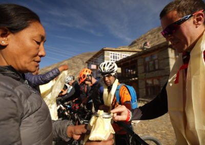 Receiving khata's (ceremonial scarf) as a blessing from the local community in Manang