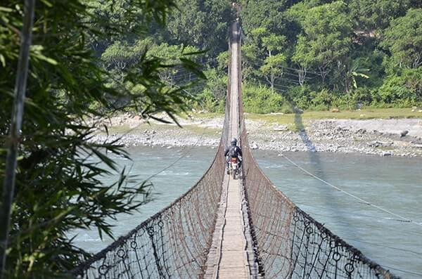 Suspension bridges link up many trails in the Himalaya foothills