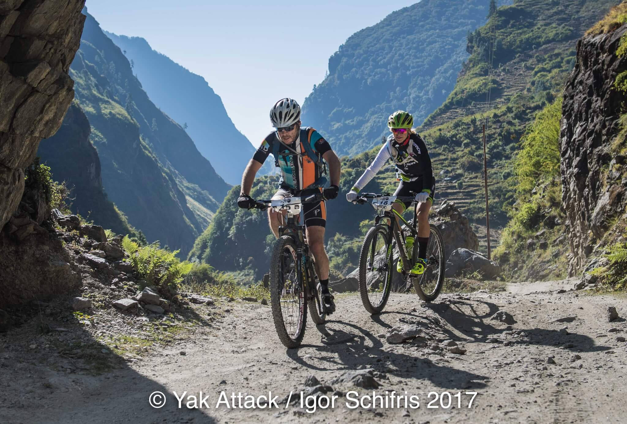 Riding to Taal during stage one of the Yak Attack, the highest mountain bike race on earth