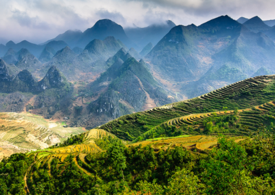 Terraces and mountains in Ha Giang, Vietnam